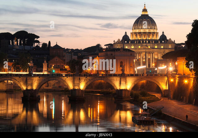 St. Peter's Basilica, Vatican City - the administrative center of the Roman Catholic Church and a country located - Stock Image