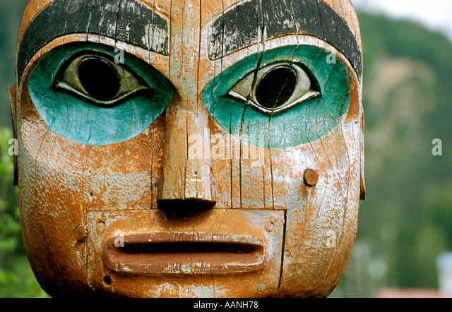 ALASKA WRANGELL Close up view of Totem Pole Figure Chief Shake Island Tlingit Tribe - Stock Image