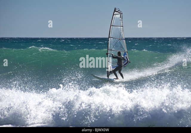 Windsurfer in the beaches of Masnou, nearby  Barcelona. Spain. - Stock Image
