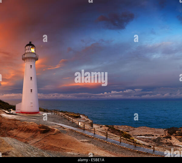 Castle Point Lighthouse, sunset, Wairarapa, New Zealand - Stock Image