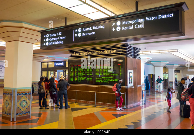 Los Angeles California CA L.A. LA mass transit public transportation Union Station railway station railroad terminal - Stock Image