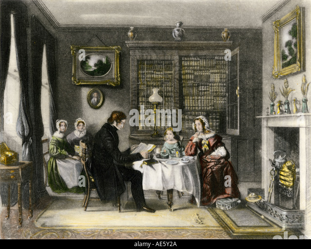Morning worship in a Victorian family home - Stock Image