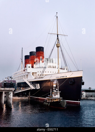 SS Columbia attraction, passenger ship steam liner at American Waterfront, Tokyo Disneysea. Japan. - Stock Image