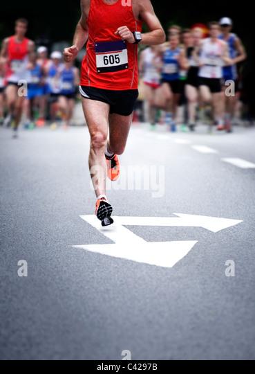 Marathon runners - blurred motion - Stock Image