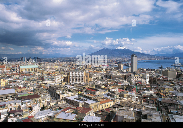 Campania Napoli View Of The City 'By Vittorio Emanuele C. - Stock Image