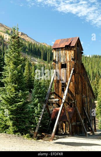 Shaft house, Yankee Girl Mine, near Ouray, Colorado USA - Stock-Bilder