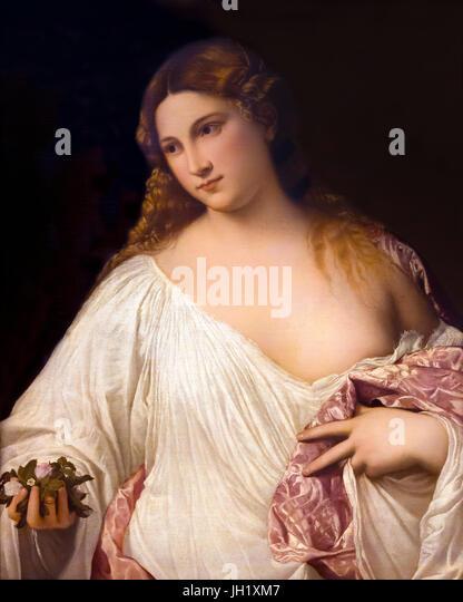 Flora, by Titian, 1515-1520, Uffizi Gallery, Florence, Tuscany, Italy, Europe - Stock Image