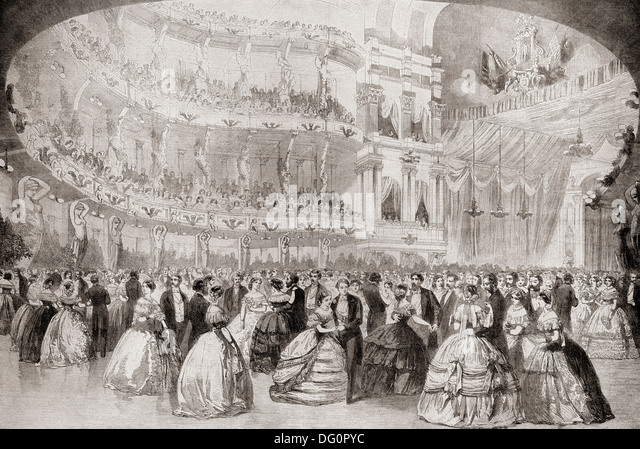 The ball at the Academy of Music in New York during the future King Edward's tour of America in 1860. - Stock-Bilder