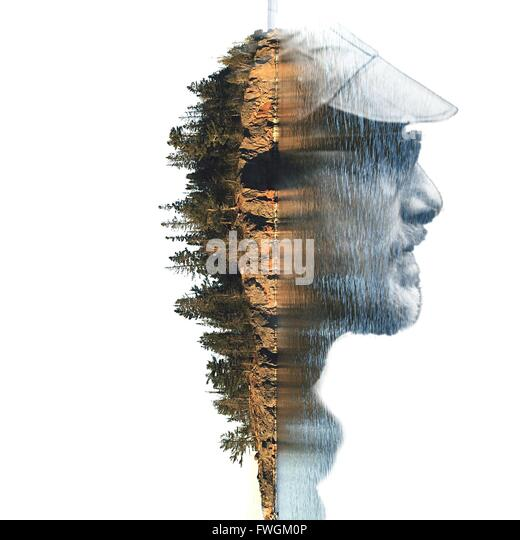 Double Exposure Of Man And Island - Stock Image