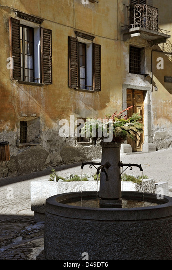 Fountain, Bormio, Italy - Stock Image