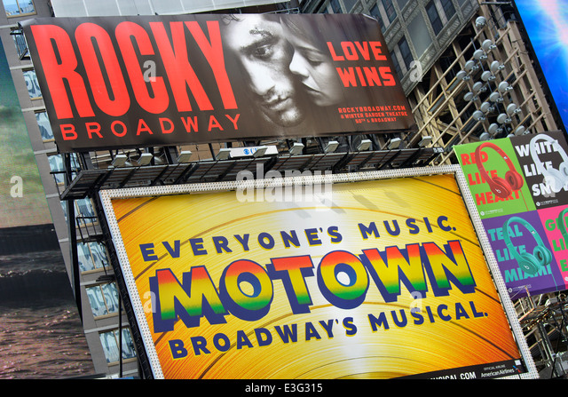 Broadway Musical Motown, Rocky Musicals Sign Billboard, New York - Stock Image