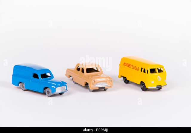 Group of Hornby Dublo 1960 s toy cars - Stock Image