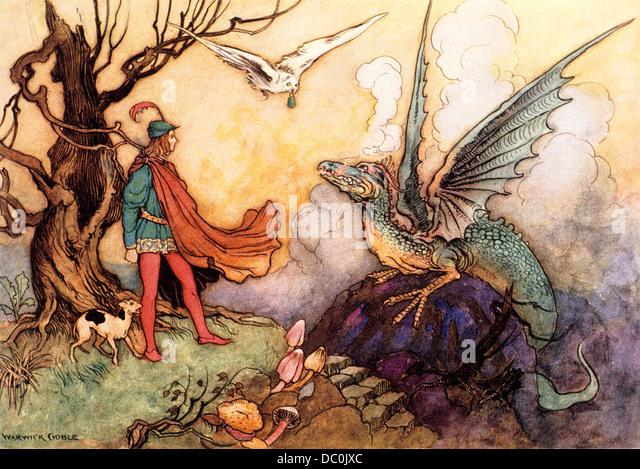 1910s ILLUSTRATION FAIRY TALE PRINCE AND DRAGON BY WARWICK GOBLE - Stock Image