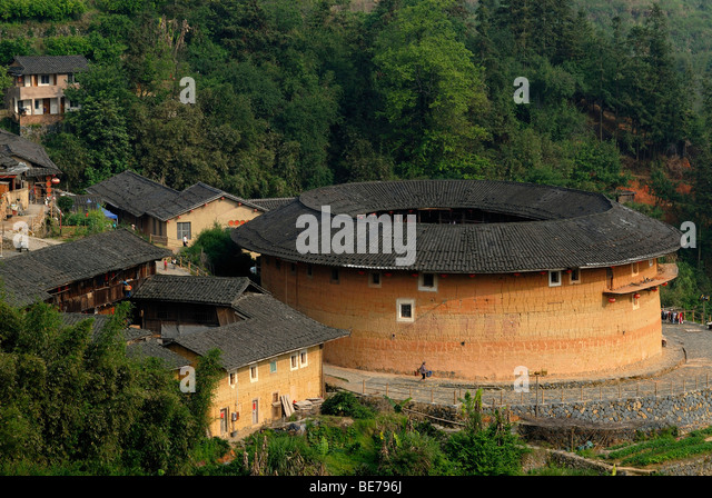 Tulou, circular earthen building near Yongding and Hukeng, made by the Hakka people, a Chinese minority, Fujian, - Stock Image