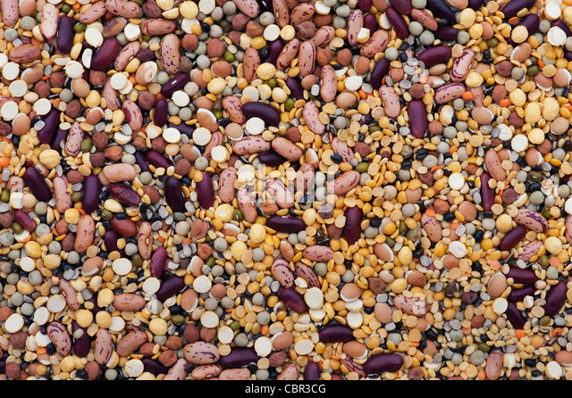 Pulses, seeds, beans and lentils mixture - Stock Image