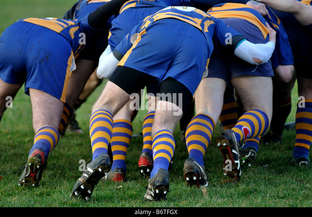 Rugby players pushing in scrum, Leamington Spa, England, UK - Stock Image
