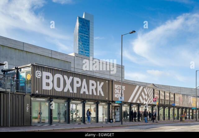 Boxpark, east London, UK - Stock-Bilder