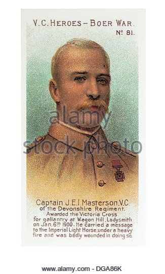 Captain James E I Masterson was awarded the VC  at Wagon Hill, siege of Ladysmith 1900.Card by Taddy and Co 1902. - Stock Image