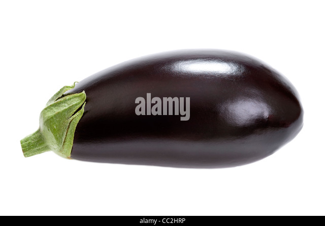 aubergine or eggplant isolated on a white background - Stock Image