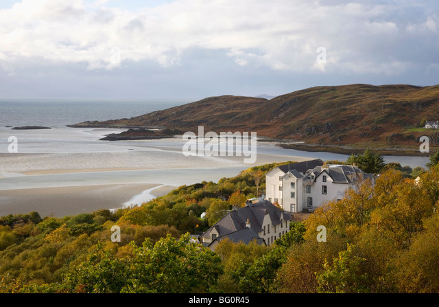 View across the silver sands of Morar to the Sound of Sleat, Morar, Highlands, Scotland, United Kingdom, Europe - Stock-Bilder