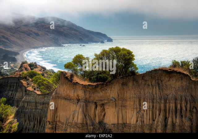 Cathedral Cliffs, Gore Bay, south island, New Zealand. - Stock Image