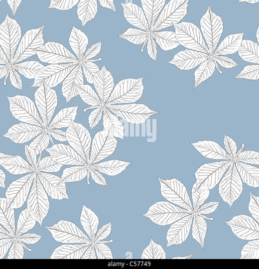 Chestnut leaves. Seamless pattern. Vector, eps8, easy editable. - Stock Image