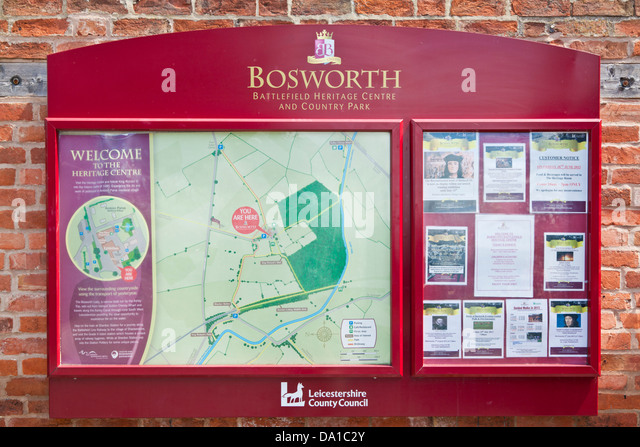 Information board Bosworth Battlefield Heritage Centre and Country Park Leicestershire East Midlands England UK - Stock Image