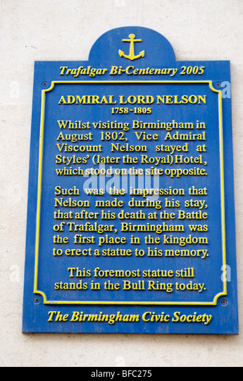 Plaque commemorating the visit of Admiral Lord Horatio Nelson to the Styles Hotel in Birmingham - Stock-Bilder