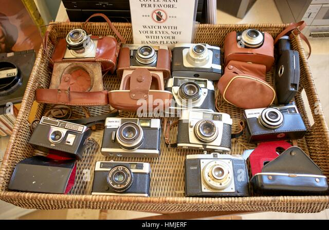 Second hand vintage camera market. Lecce, Apulia, Italy - Stock Image