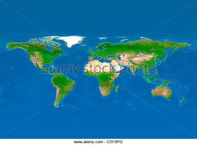 map, world, europe centered, physical, blue reduced - Stock Image