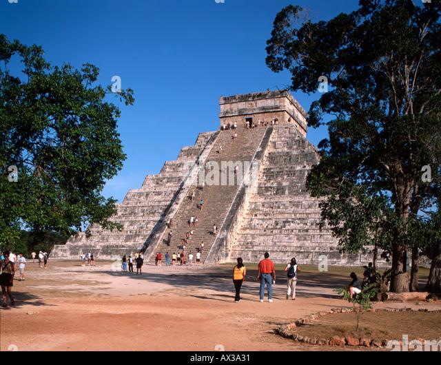 Mexico Chichen Itza Maya Ruins Yucatan Pyramid - Stock Image