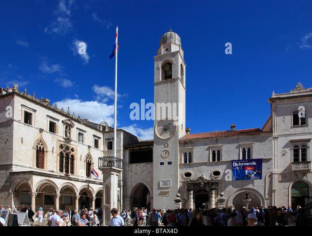 Croatia, Dubrovnik, Sponza Palace, Clock Tower, - Stock Image