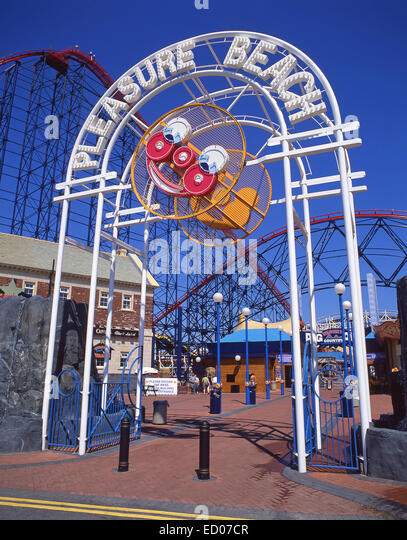 Entrance to Blackpool Pleasure Beach, Blackpool, Lancashire, England, United Kingdom - Stock Image