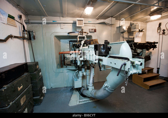 anti-tank gun vz. 36 gauge 47 mm, gunnery room, interior, Fort MO-S 19 Alej,Museum of the fortifications, Hlucin - Stock Image