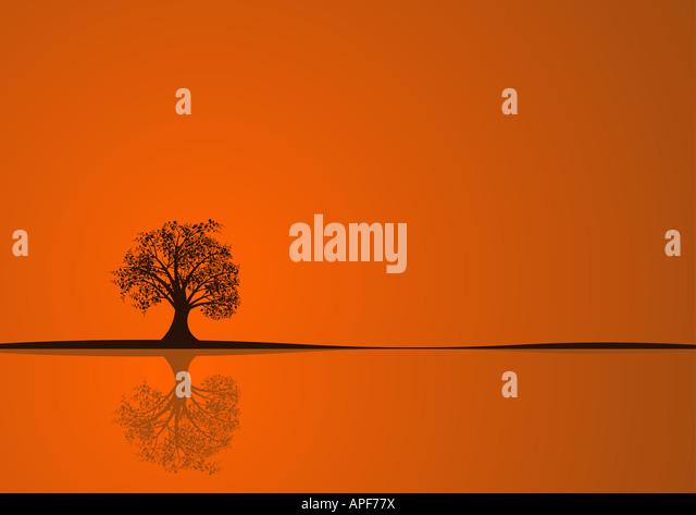 beautiful abstract vector autumn tree design - Stock Image