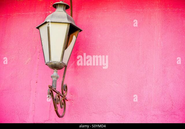 Pink Wall with lantern - Stock Image