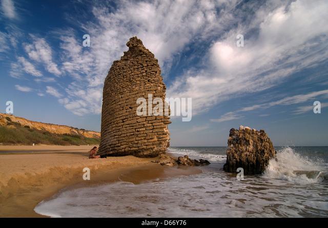 Torre del Loro beach, Almonte, Huelva-province, Region of Andalusia, Spain - Stock Image
