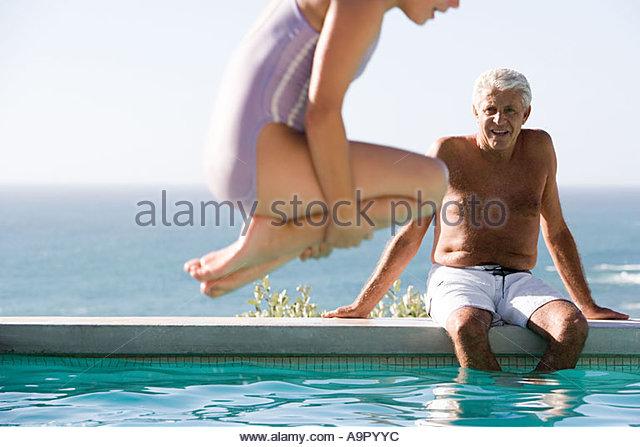 Man Jumping Swimming Pool Stock Photos Man Jumping