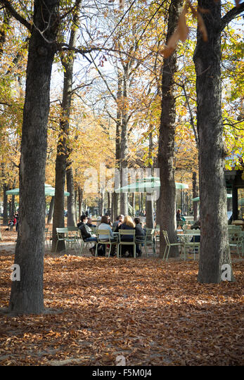 Paris autumn cafe stock photos paris autumn cafe stock for Cafe jardin du luxembourg