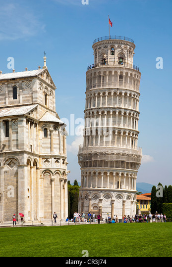 Leaning Tower of Pisa in the Field of Miracles, Pisa, Tuscany, Italy, Europe - Stock Image