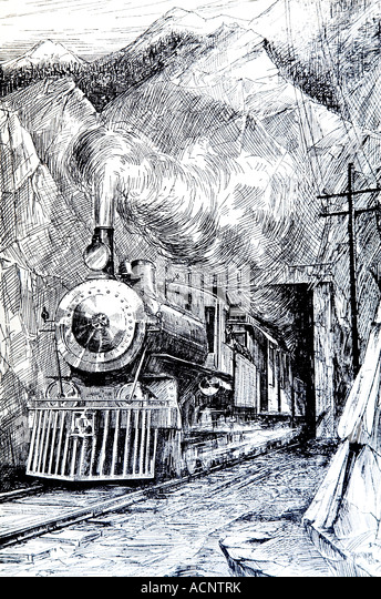 1920s line illustration of steam train emerging from tunnel - Stock Image