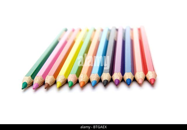 horizontal row of twelve colored pencils - Stock-Bilder