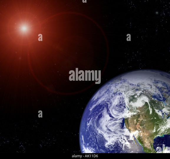 Mysterious Light in Space and satellite image of the Earth Earth from Space - Stock Image