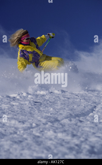 Archival photo of a skier circa approximately 1988. - Stock Image