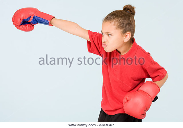 Girl boxing - Stock Image