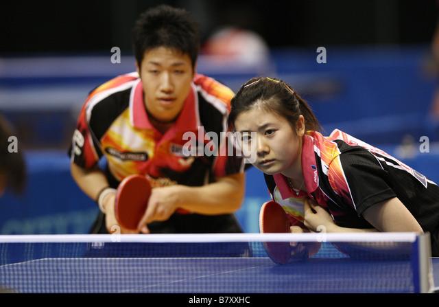 L to R Jun Mizutani Ai Fukuhara JANUARY 14 2009 Table Tennis All Japan Table Tennis Championship Mixed Doubles at - Stock Image
