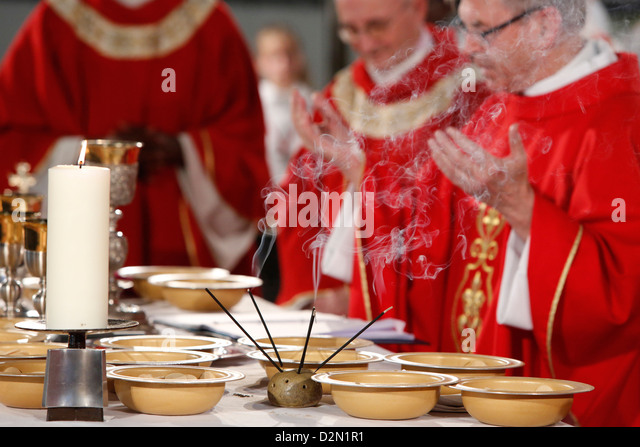 Eucharist celebration, Catholic Mass, L'Ile St. Denis, France, Europe - Stock Image