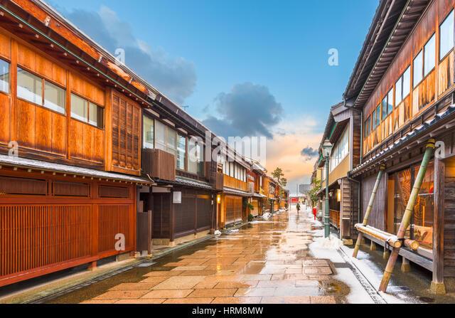 Kanazawa, Japan at  the historic Nishi Chaya District in the winter. - Stock Image