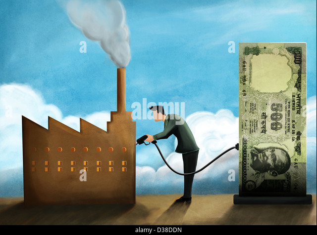 Illustrative image of businessman refueling factory with money representing investment - Stock-Bilder