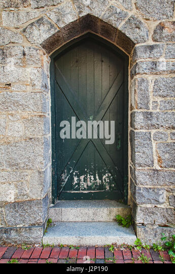 Green door at St. Peter's Church in Salem, Massachusetts. - Stock Image
